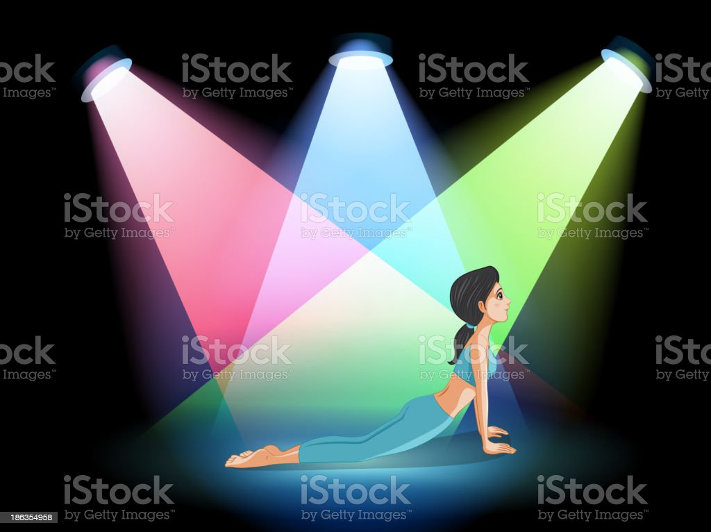 lady exercising in the middle of stage royalty-free stock vector art