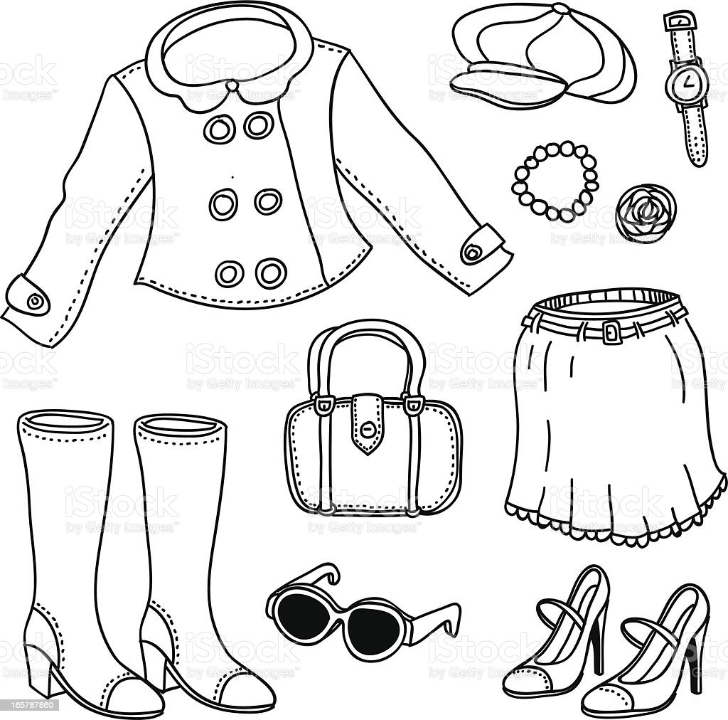 Lady fashion in black and white royalty-free stock vector art