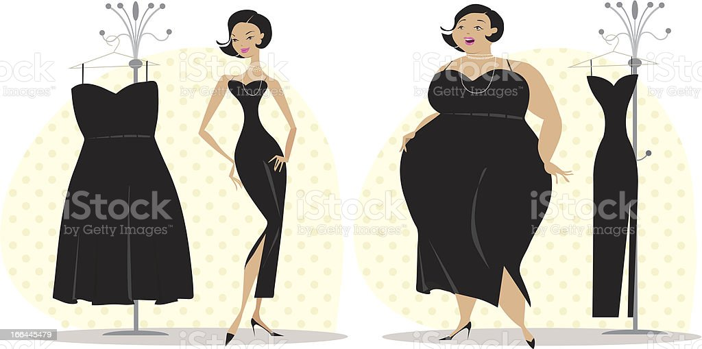 Lady fitting a dress after diet royalty-free stock vector art