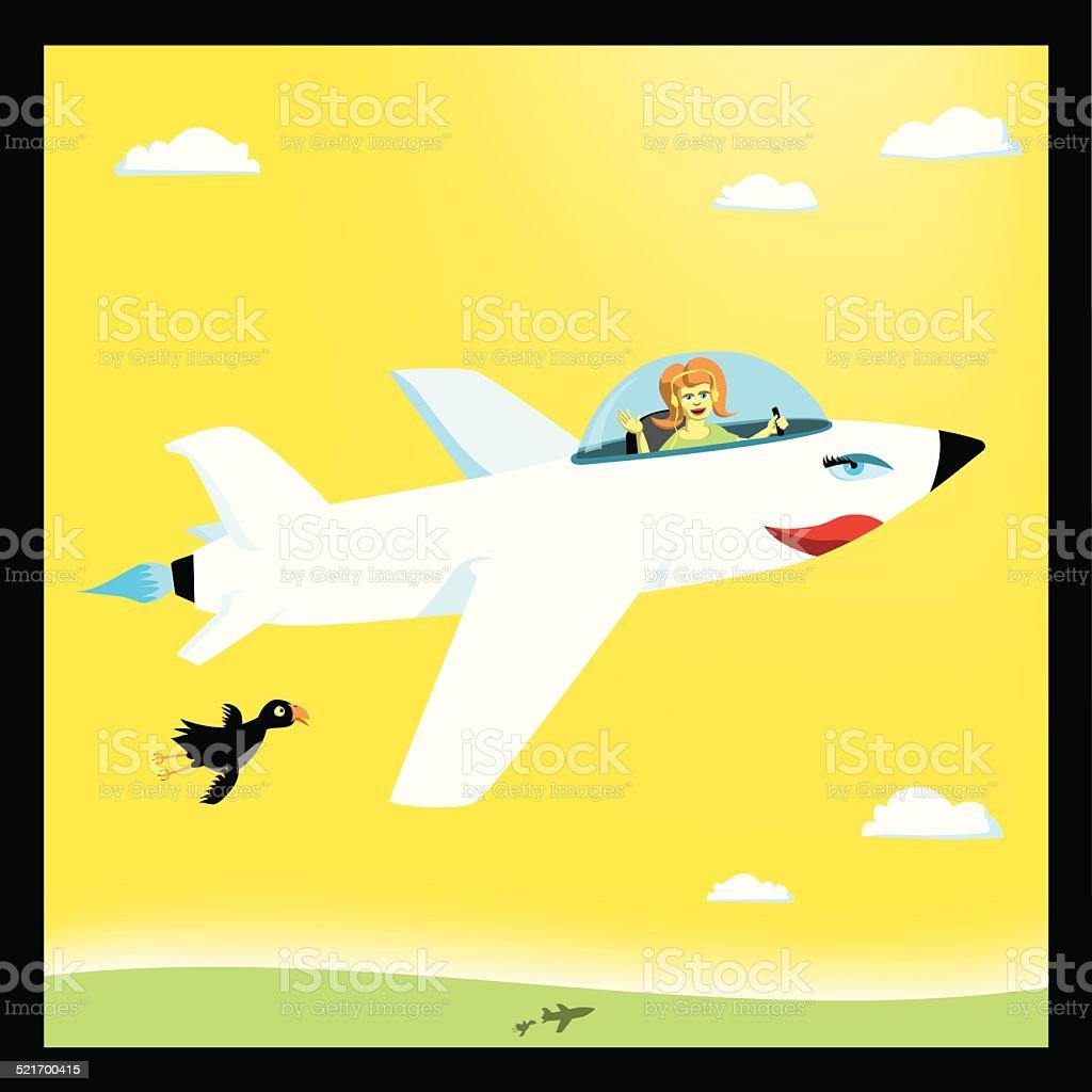 Lady Flyer With Surprised Bird stock vector art 521700415 | iStock