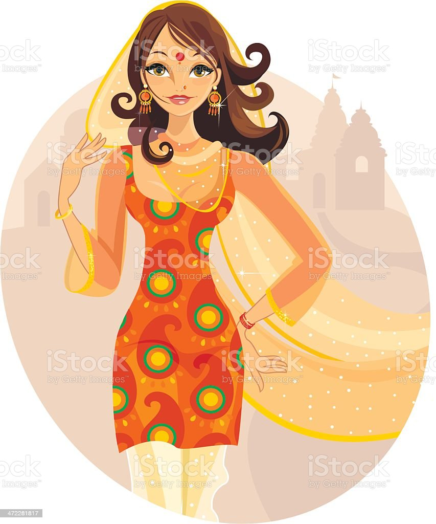 Lady from India vector art illustration