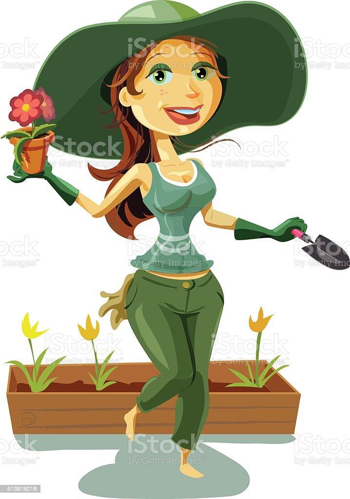 Lady Gardening vector art illustration
