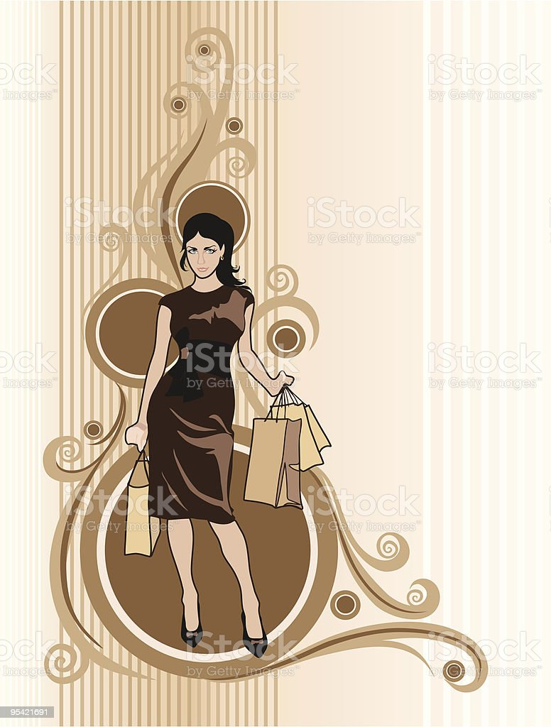 Lady in brown with purchases royalty-free stock vector art