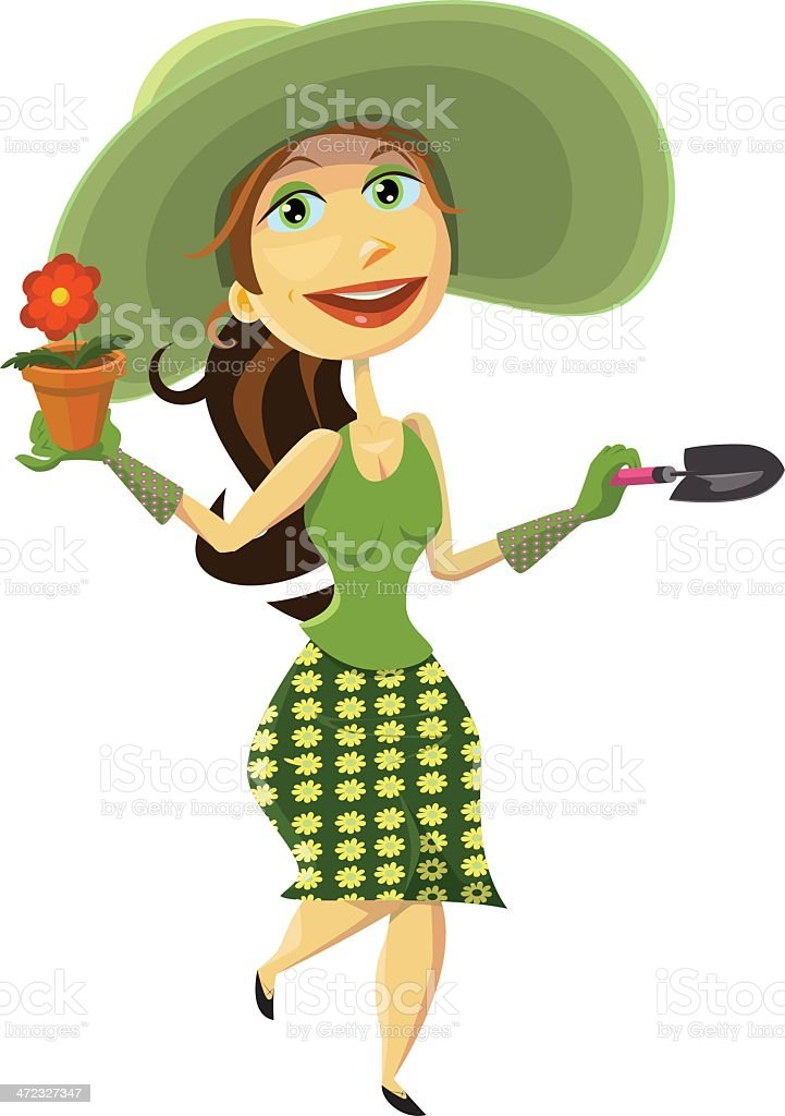 Lady in Green Gardening royalty-free stock vector art