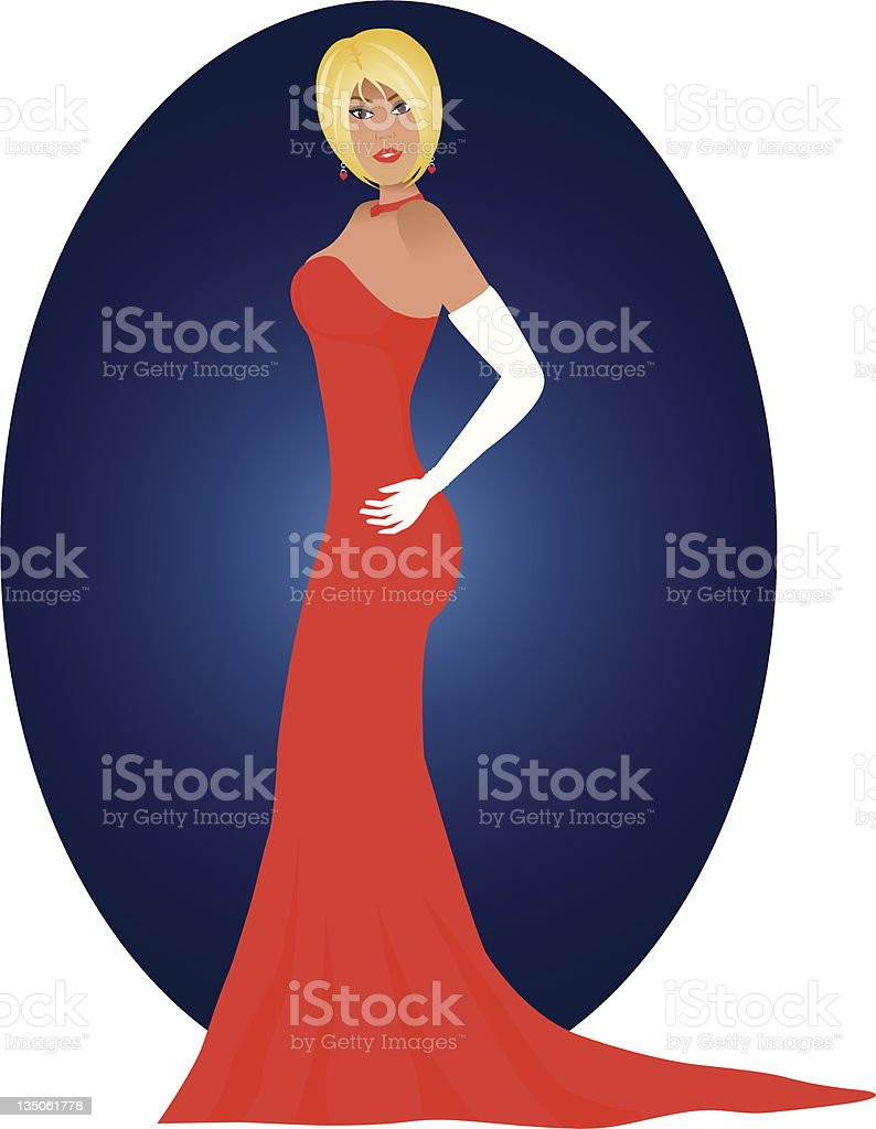 Lady in Red royalty-free stock vector art