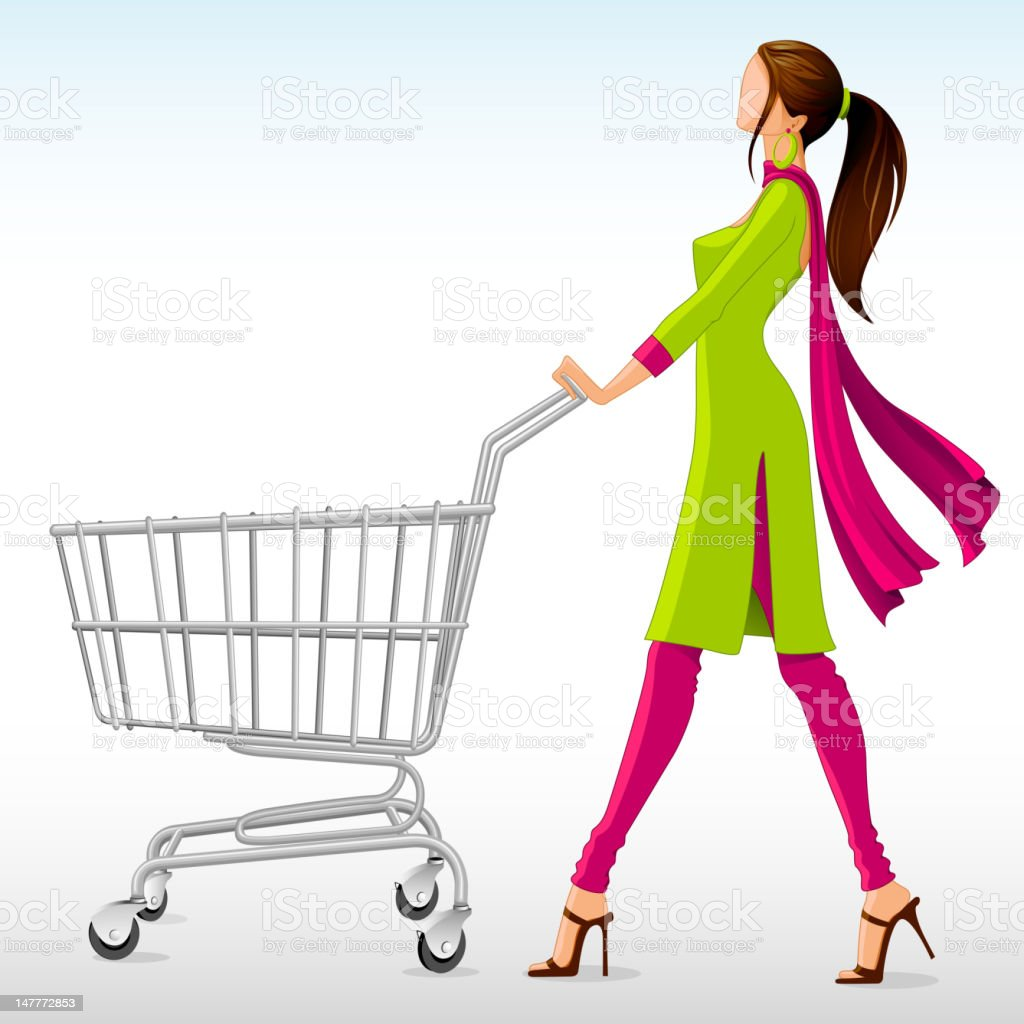Lady in Salwar Suit with Shopping Cart vector art illustration