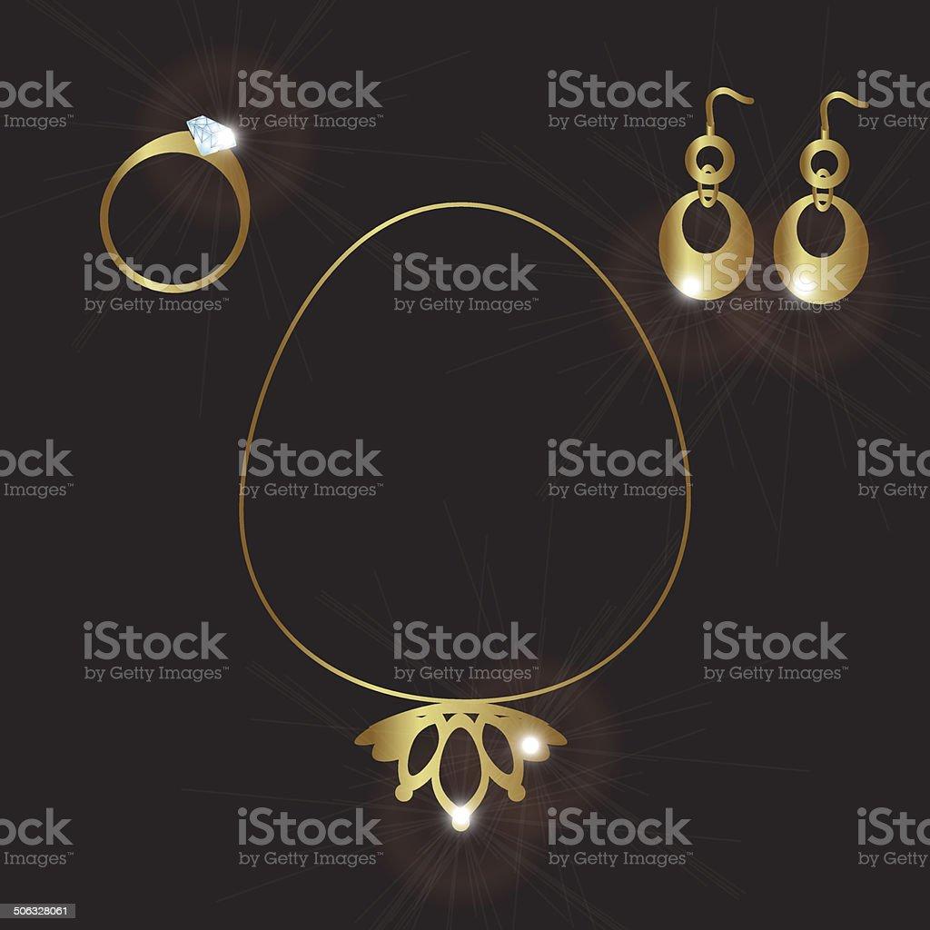 lady jewels gold set eps10 vector art illustration