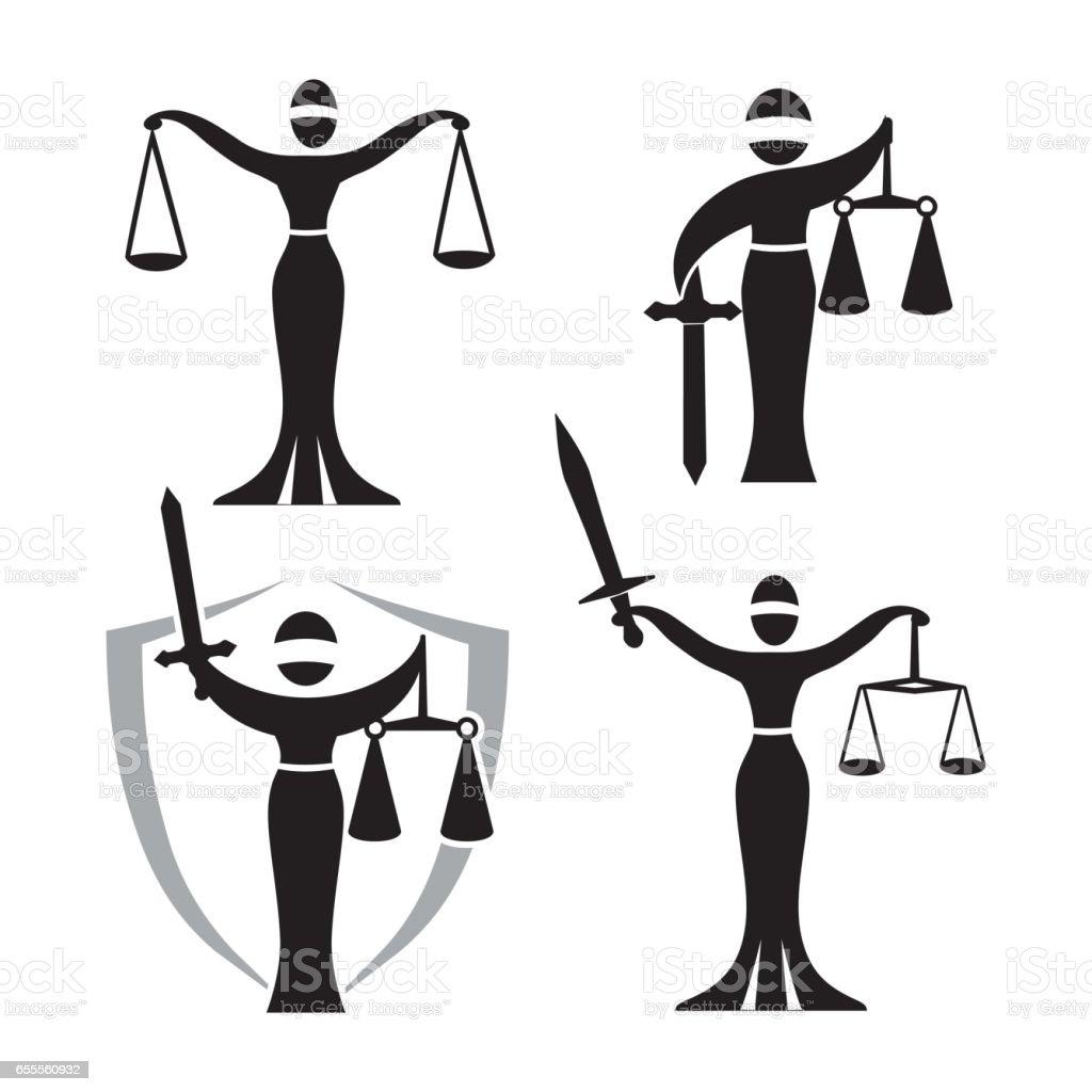 lady justice black set vector art illustration