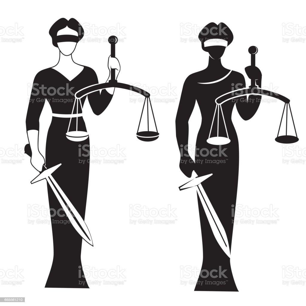 lady justice black vector art illustration
