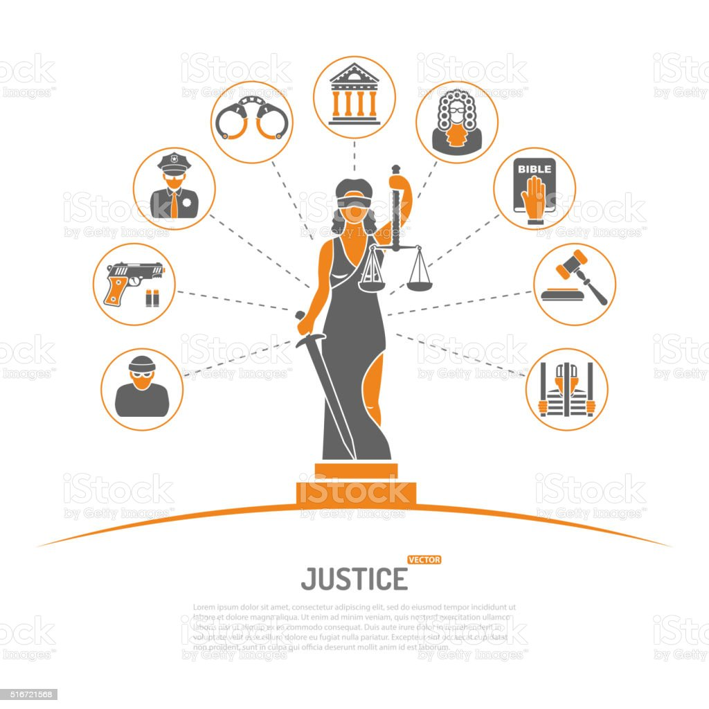Lady Justice Concept vector art illustration