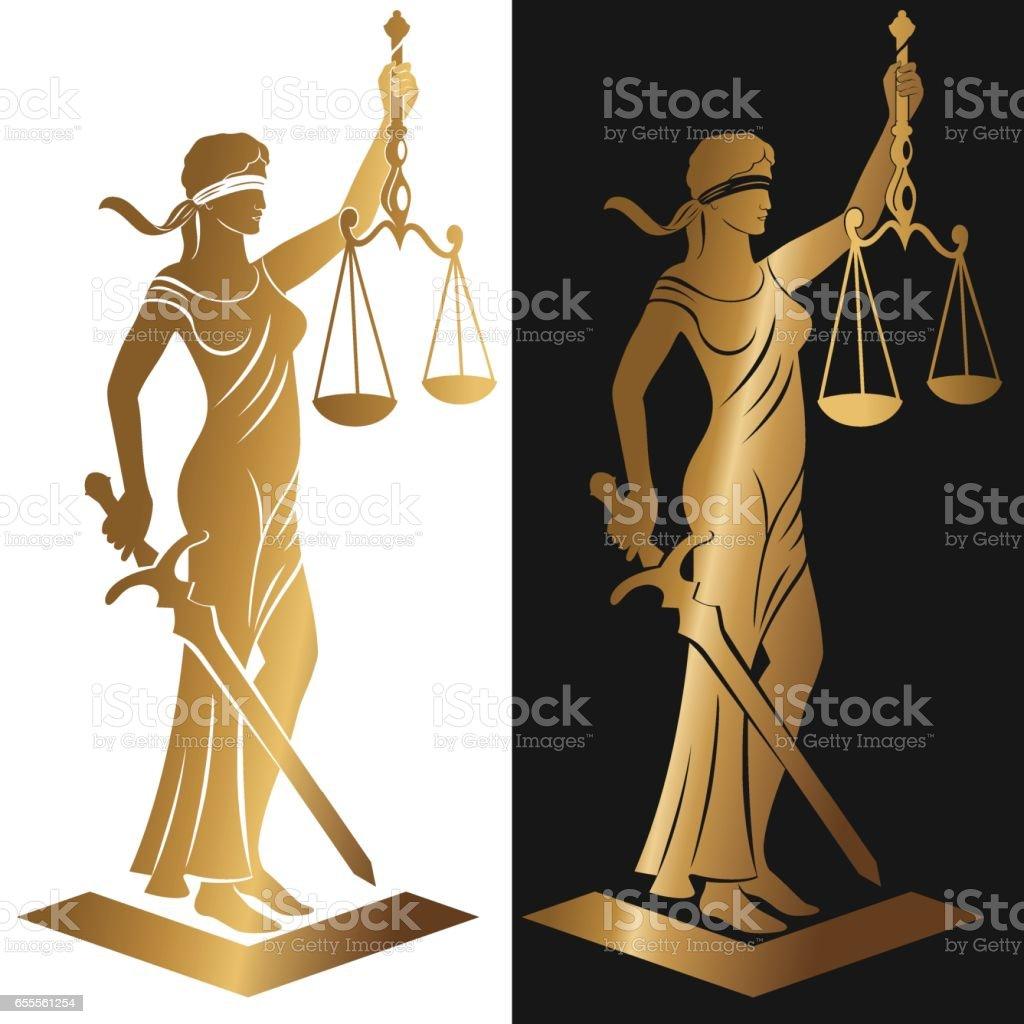 lady justice Gold vector art illustration