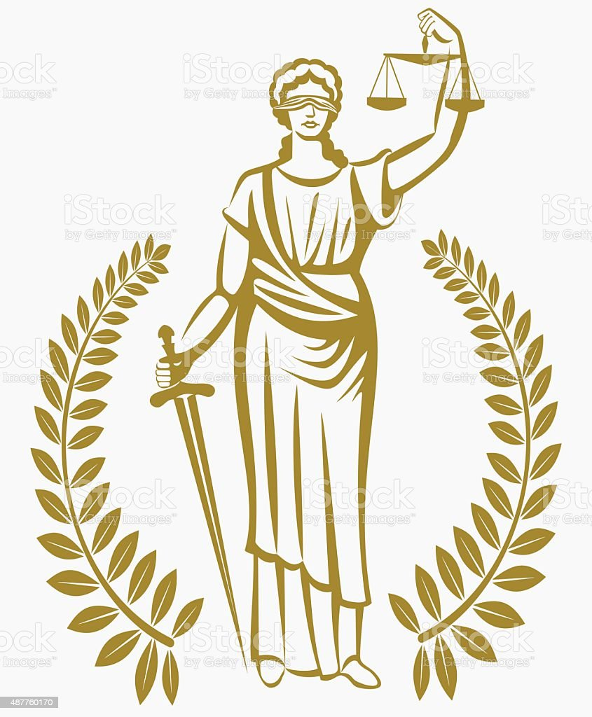 lady justice . Greek goddess Themis . .  fair trial . Law . Laurel wreath . vector art illustration