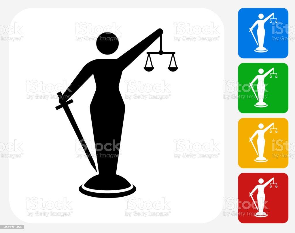 Lady Justice Icon Flat Graphic Design vector art illustration