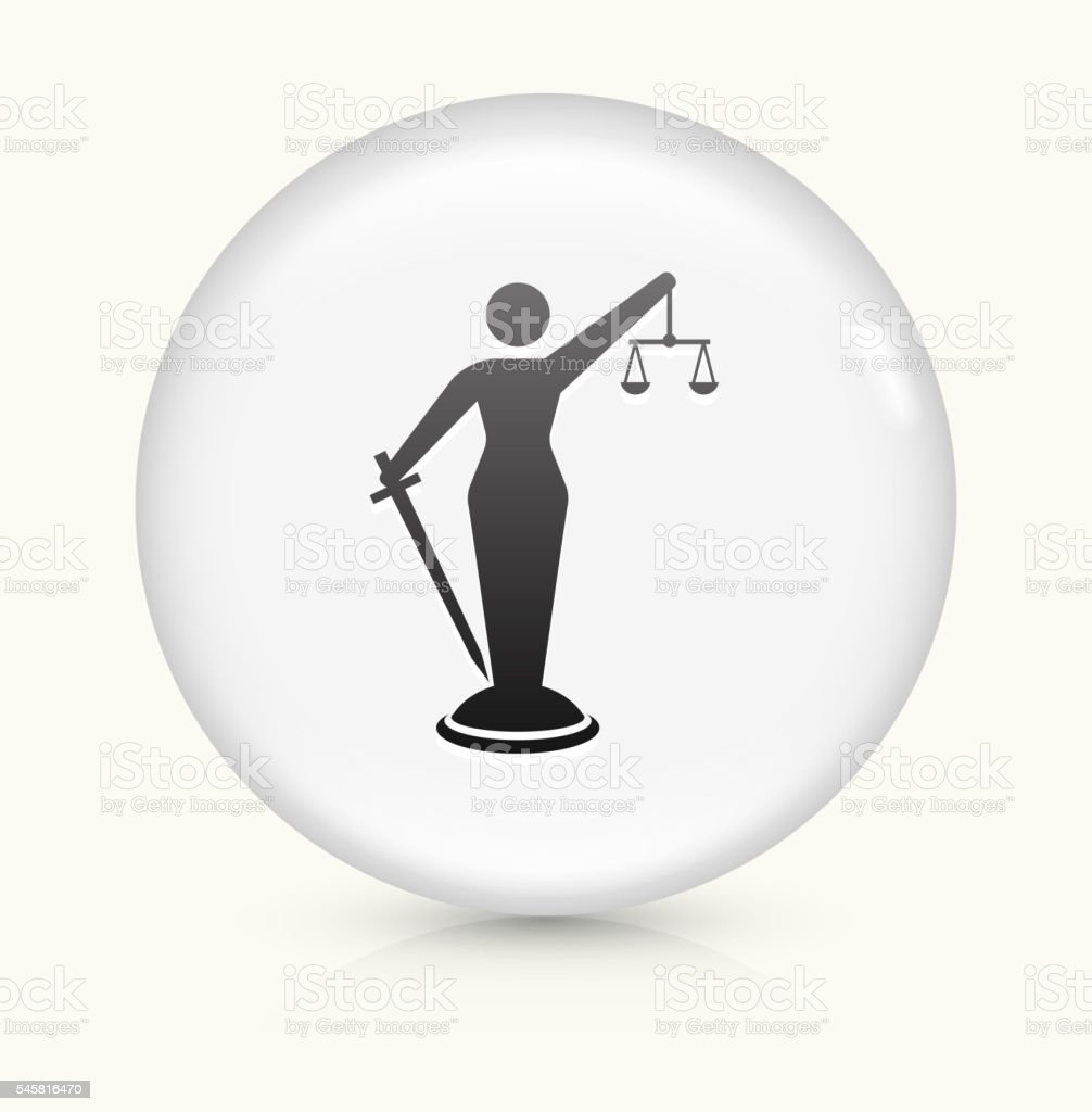 Lady Justice icon on white round vector button vector art illustration