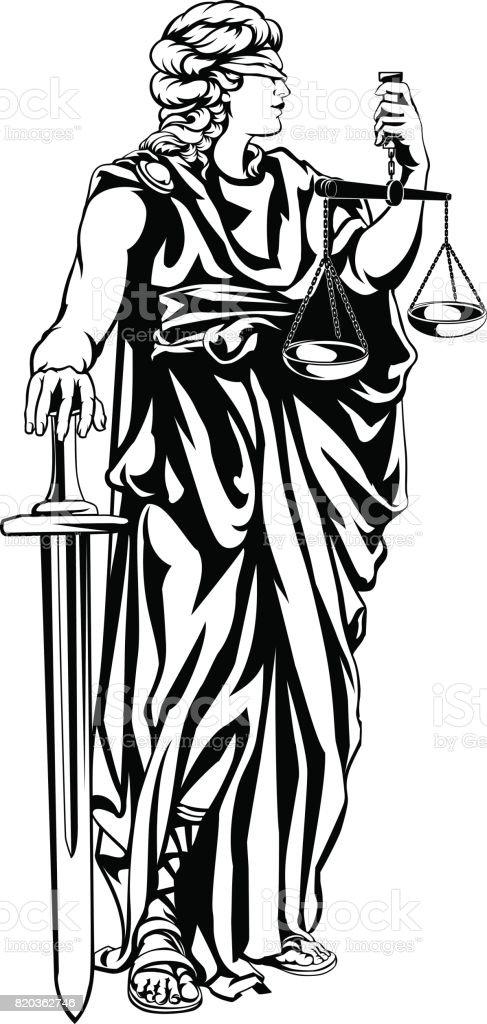 Lady Justice Illustration vector art illustration