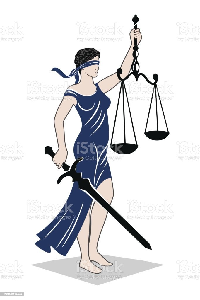 lady justice law vector art illustration