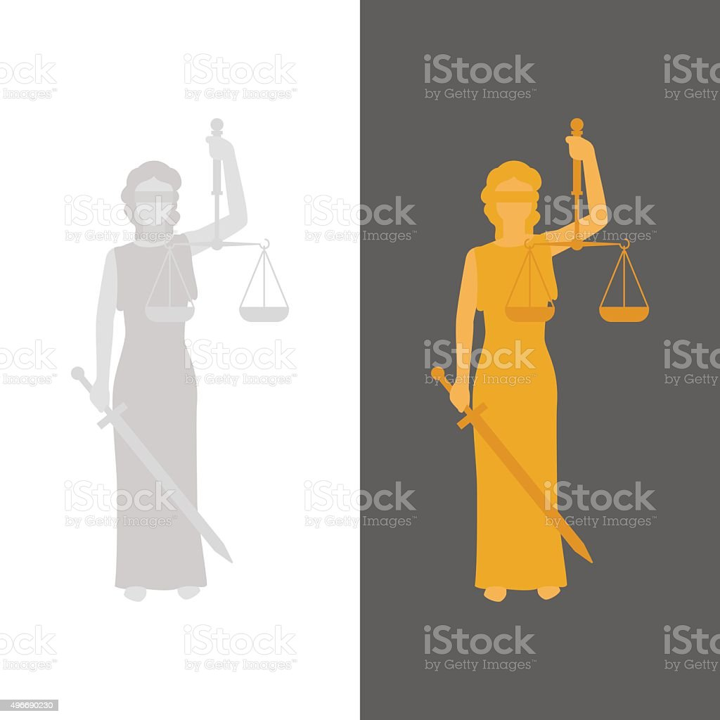 Lady Justice or Justitia vector art illustration