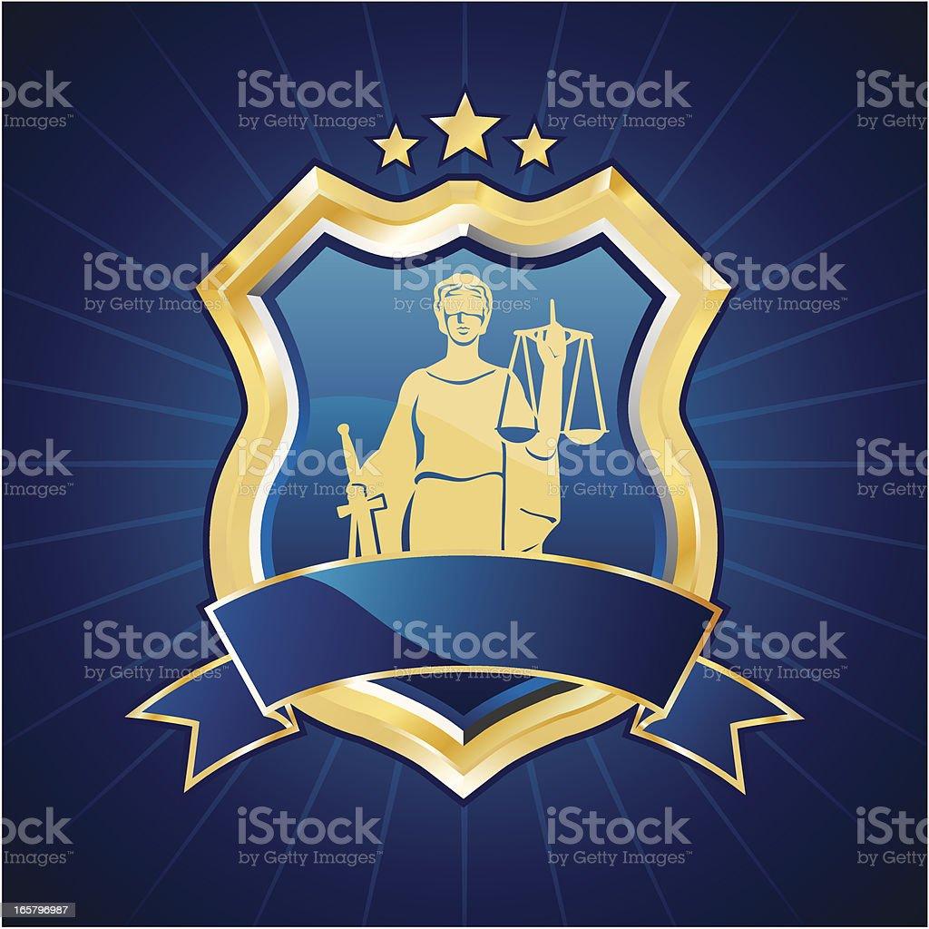 Lady justice shield vector art illustration