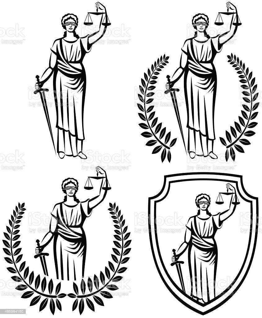 lady justice .  Themis  .  fair trial . Law . Laurel wreath .defense shield . vector art illustration