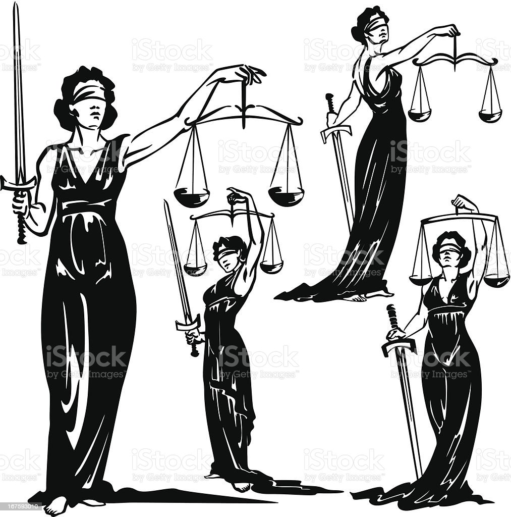 Lady Justice royalty-free stock vector art