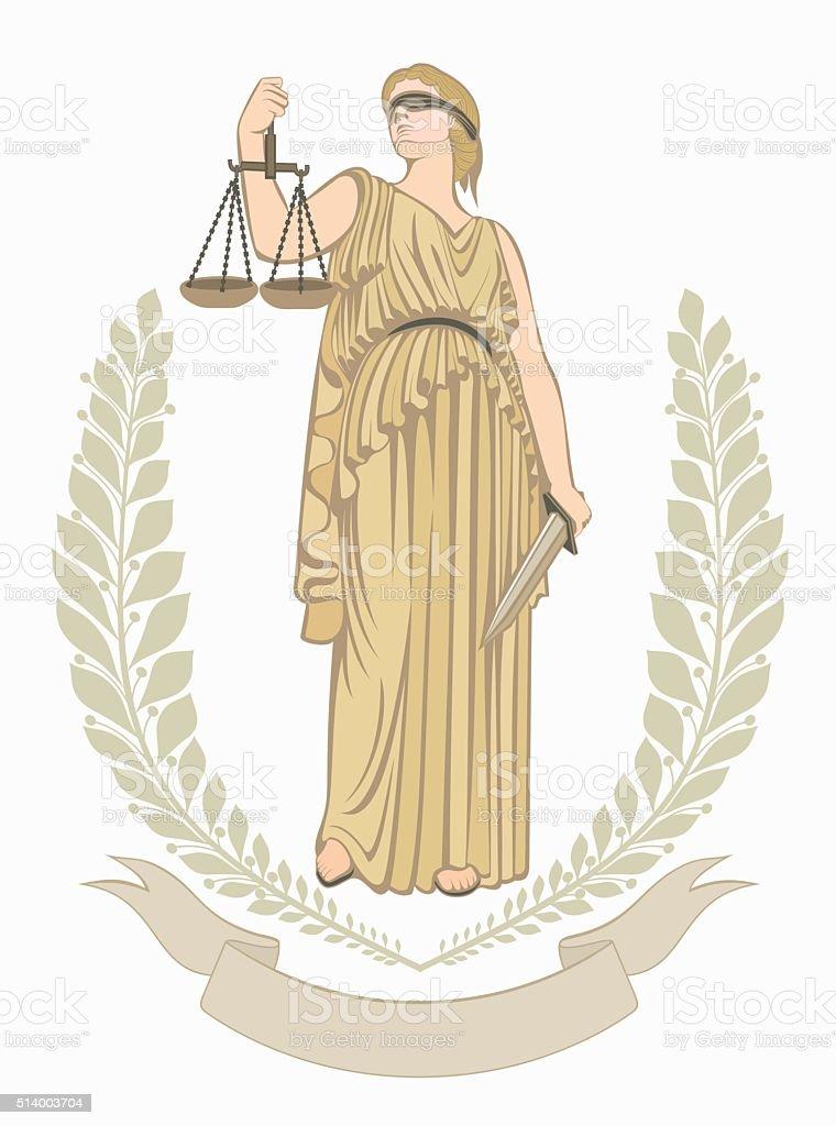 lady justice.Greek goddess Themis . fair trial. Law.laurel wreath. vector art illustration
