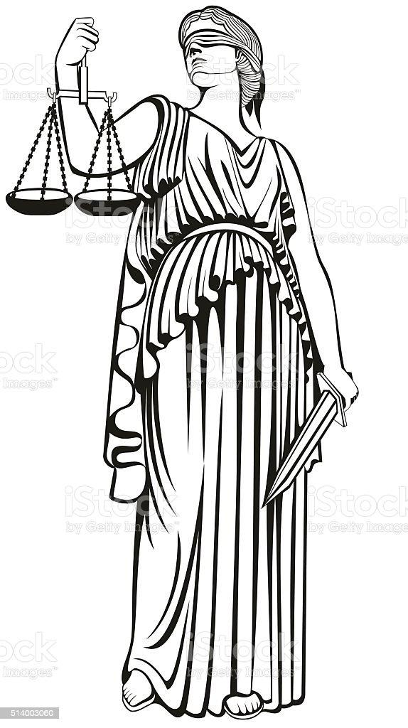 lady justice.Greek goddess Themis.  fair trial.Law. vector art illustration