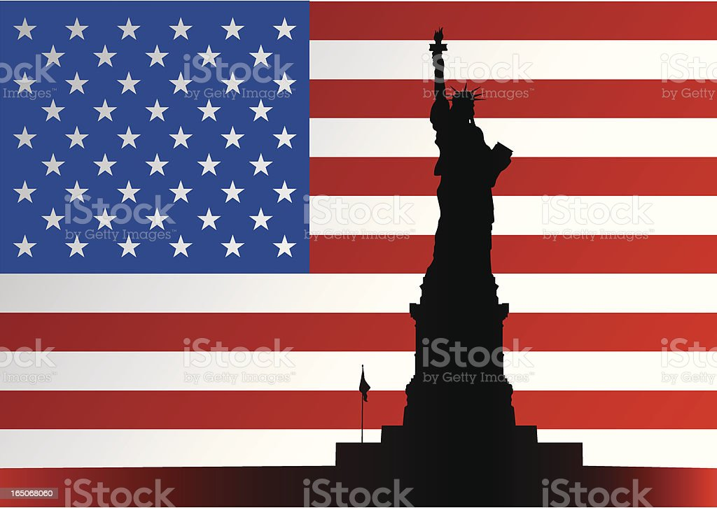 Lady Liberty, Stars and Stripes royalty-free stock vector art