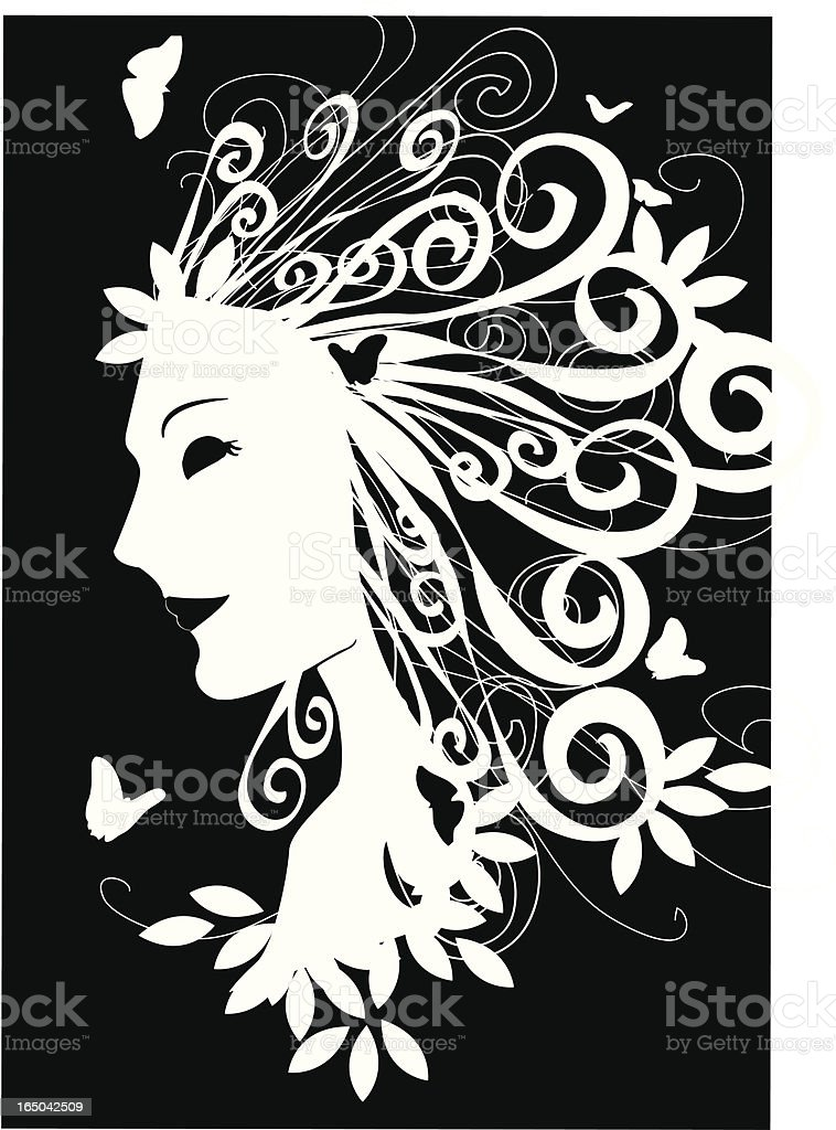 lady of summer profile simple illustration with swirls and butterflies royalty-free stock vector art