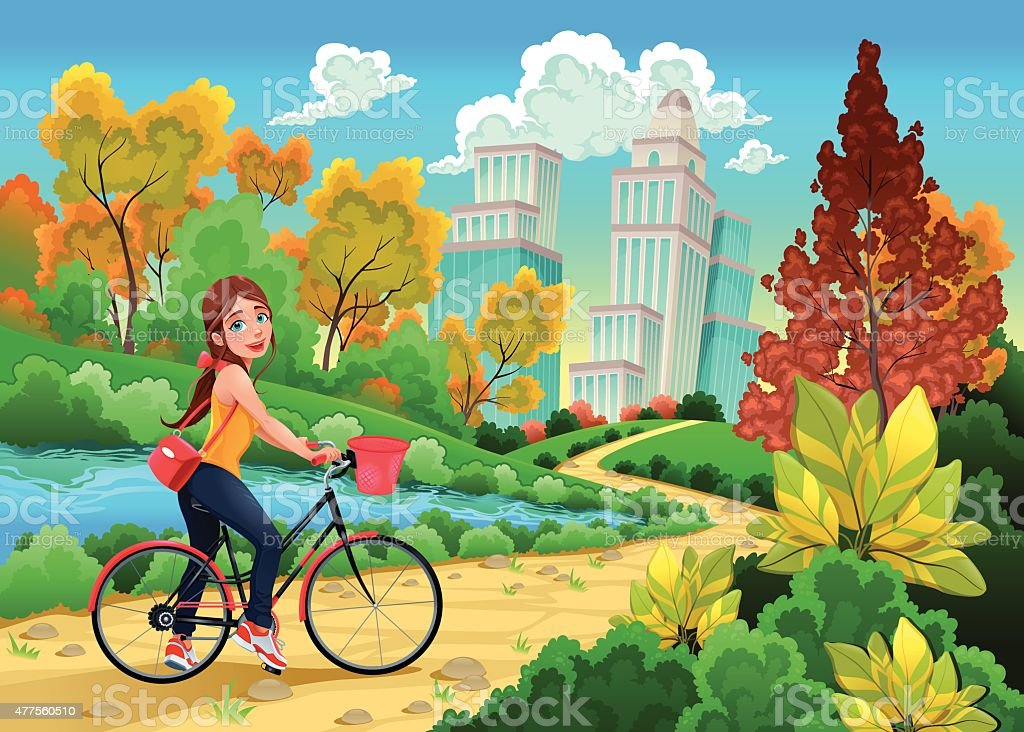 Lady on a bike in a urban park vector art illustration