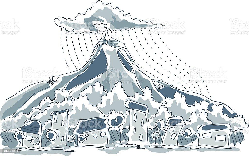 Lady Rain royalty-free stock vector art