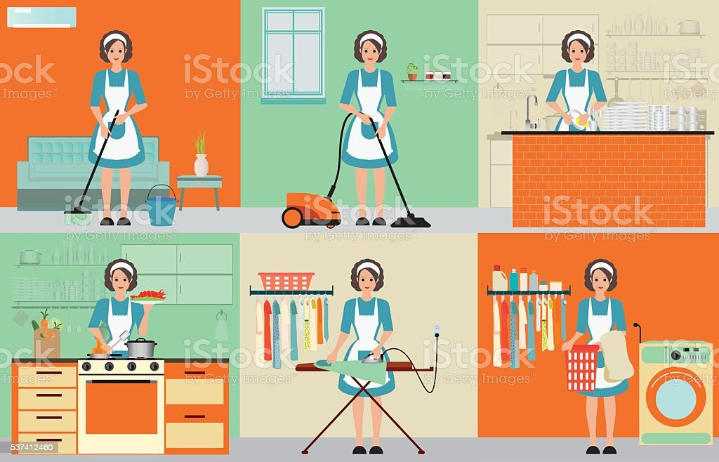 Lady set of housewife cleaning. vector art illustration