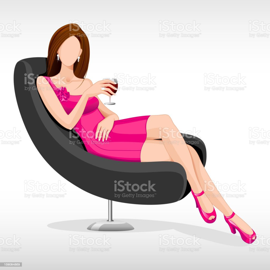 Lady sitting in Couch royalty-free stock vector art