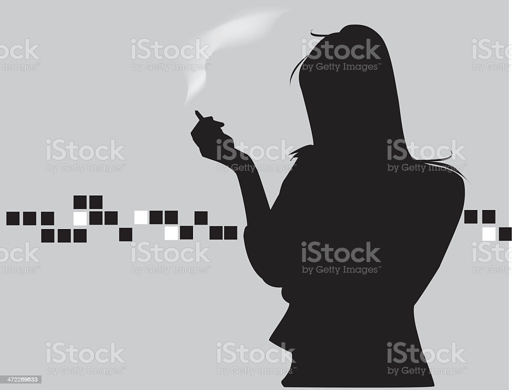lady smoking royalty-free stock vector art