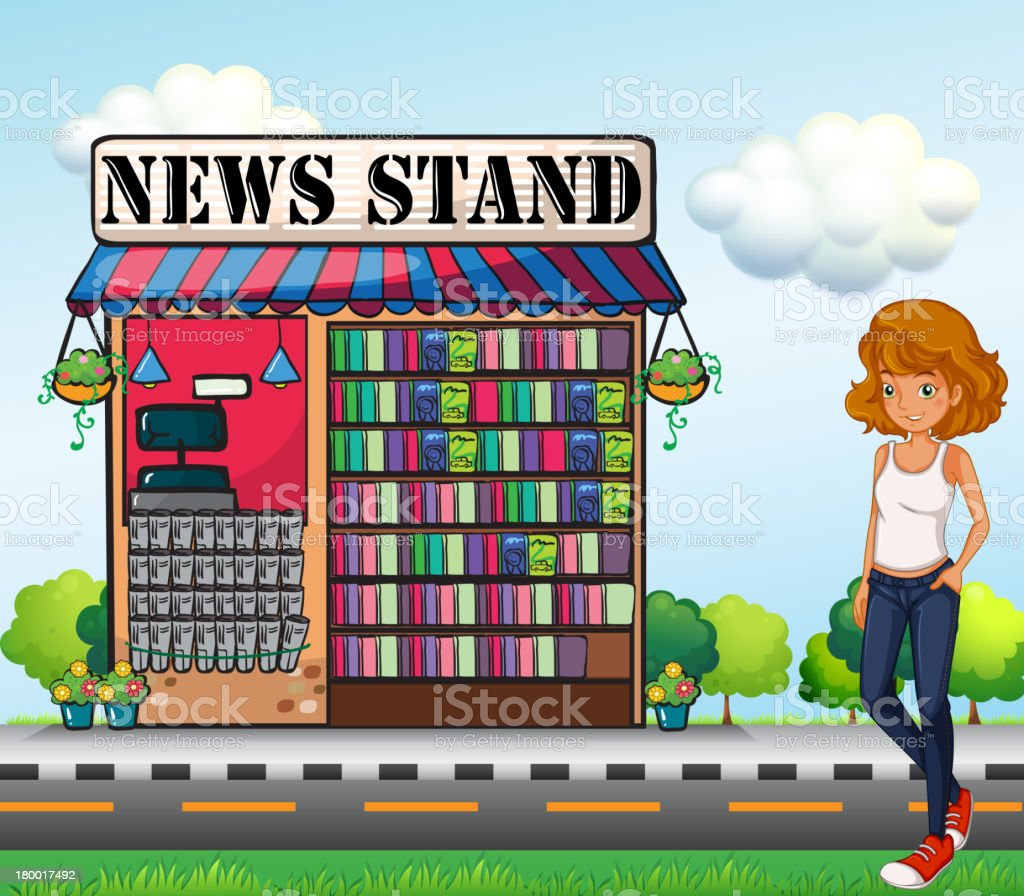 lady standing beside the news stand royalty-free stock vector art
