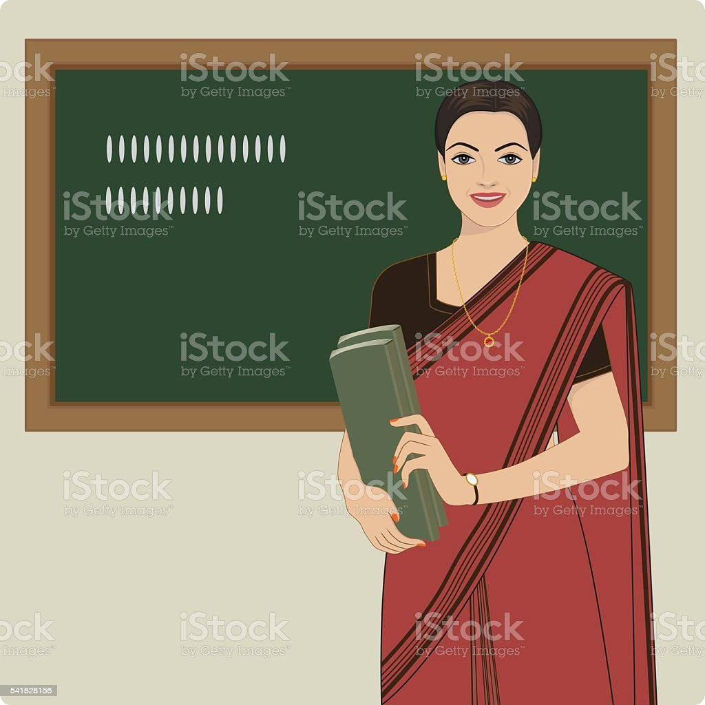 Lady teacher wearing a sari vector art illustration