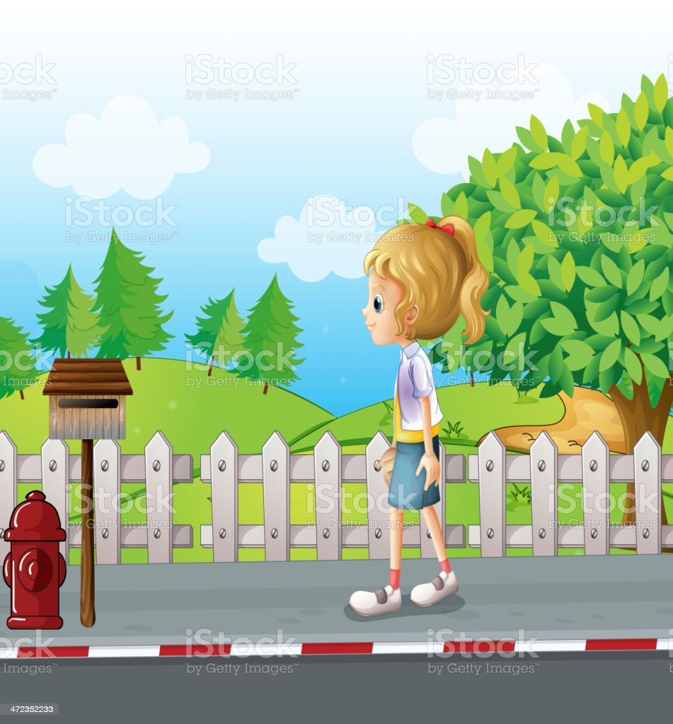 Lady walking in the street alone royalty-free stock vector art