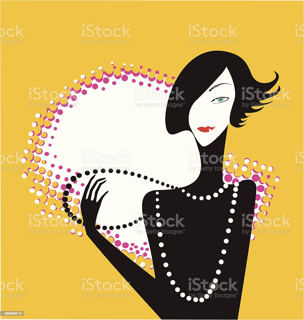 lady with beads royalty-free stock vector art