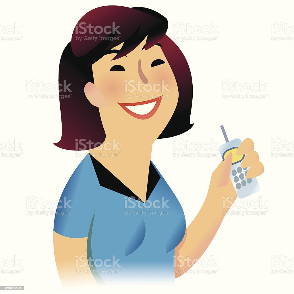 Lady with cell phone vector art illustration