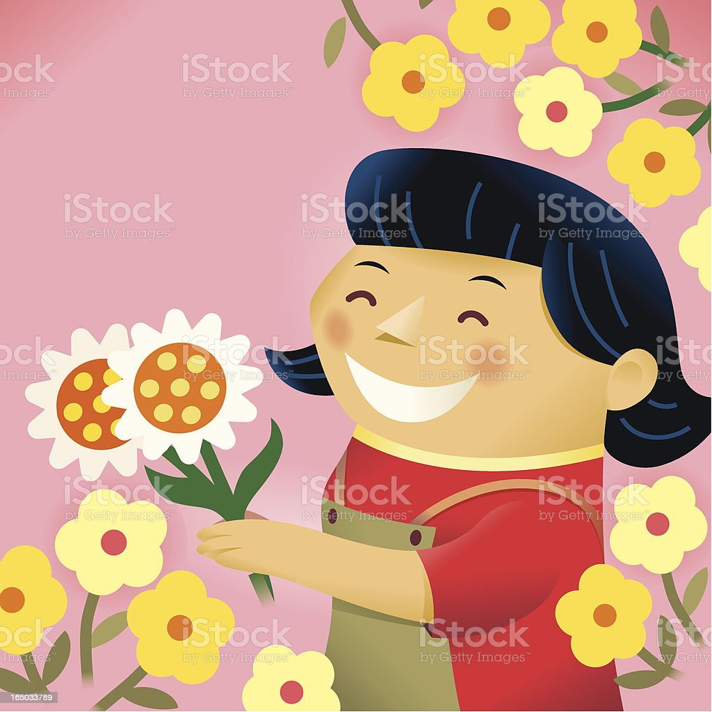 Lady with Flowers royalty-free stock vector art