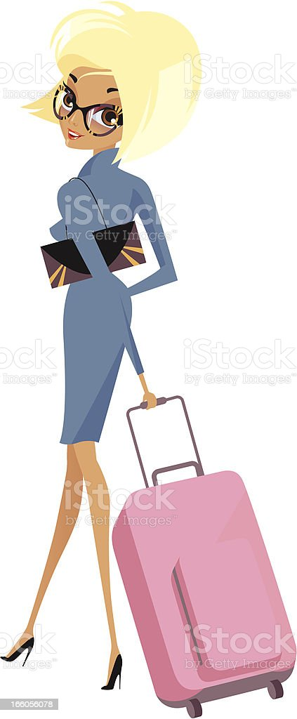 Lady with luggage. royalty-free stock vector art