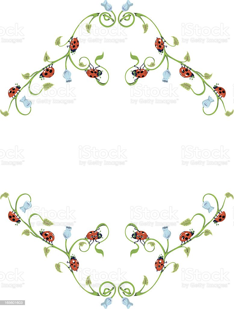 Ladybird Bell Border on Harebells. royalty-free stock vector art