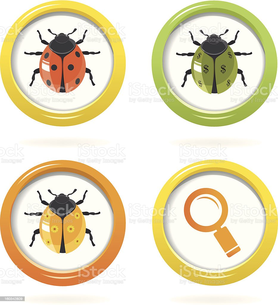 Ladybird glossy icon in colorful bubbles royalty-free stock vector art