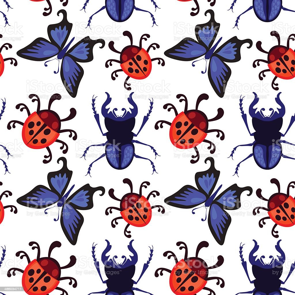 ladybug, butterfly and beetle seamless pattern vector art illustration