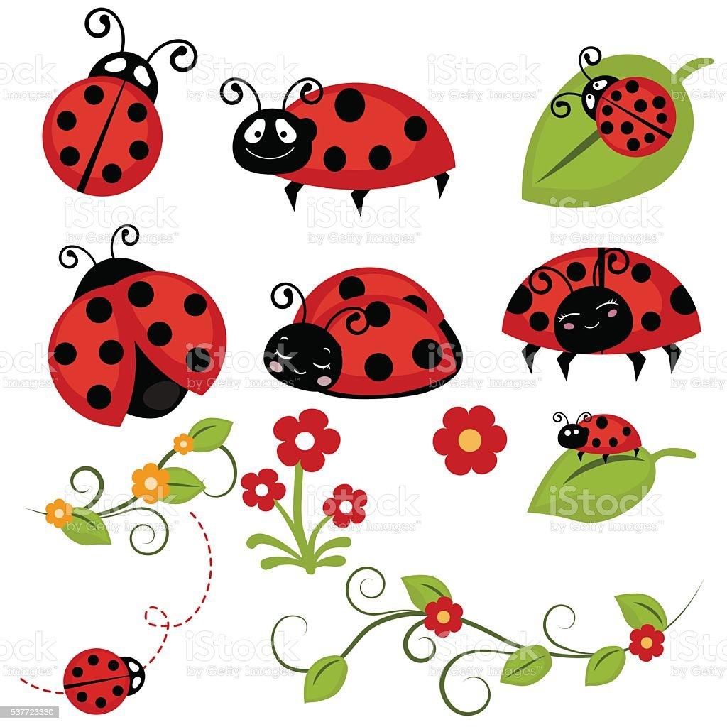 Ladybug icons set vector art illustration