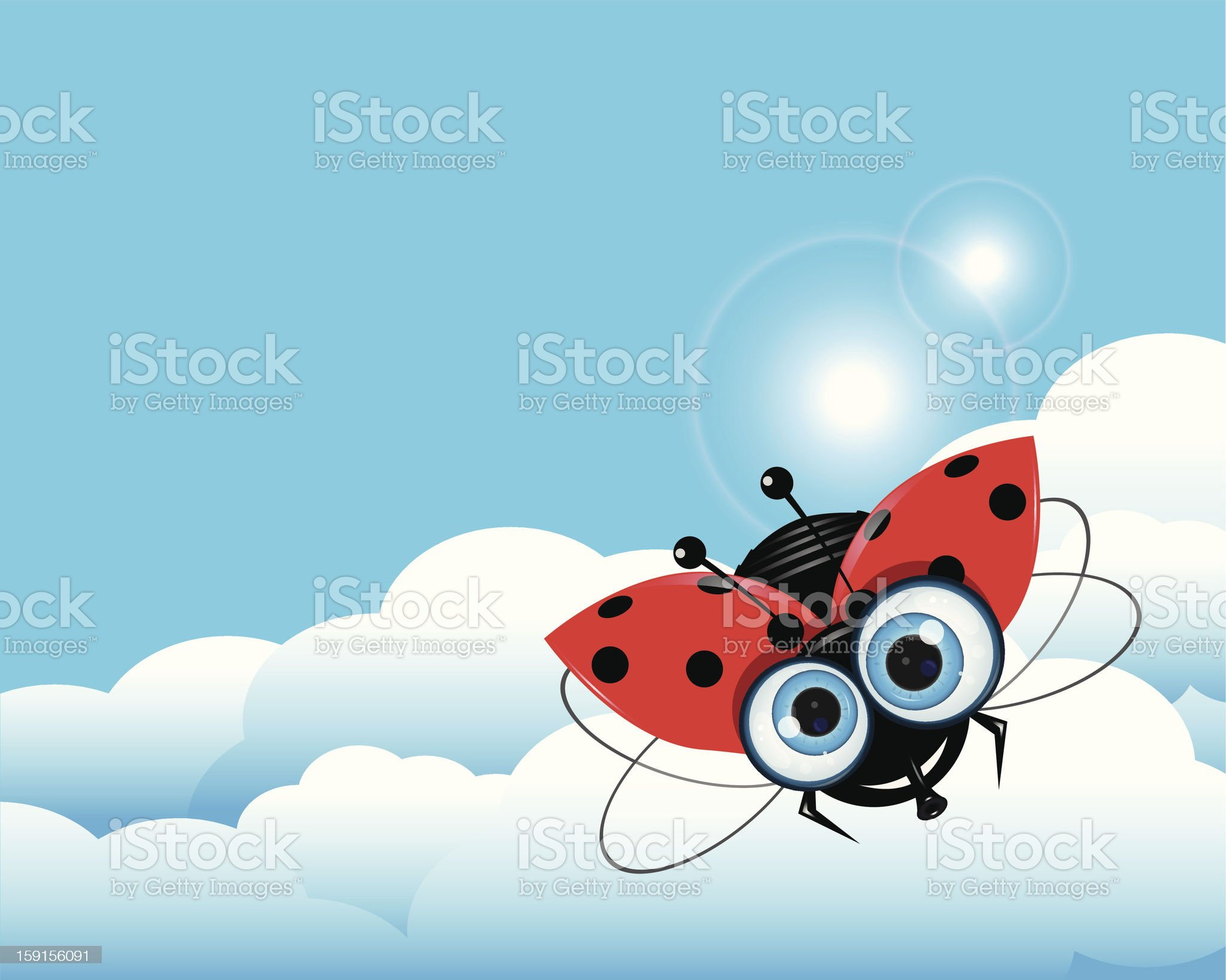 Ladybug in the Sky royalty-free stock vector art