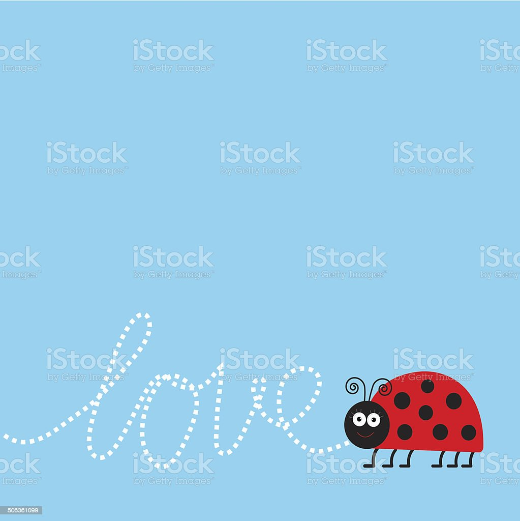 Ladybug ladybird insect. Dash word Love. Card Flat design. royalty-free stock vector art