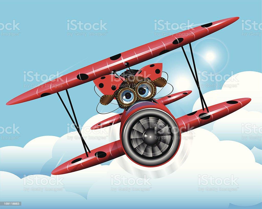 ladybug on a plane royalty-free stock vector art