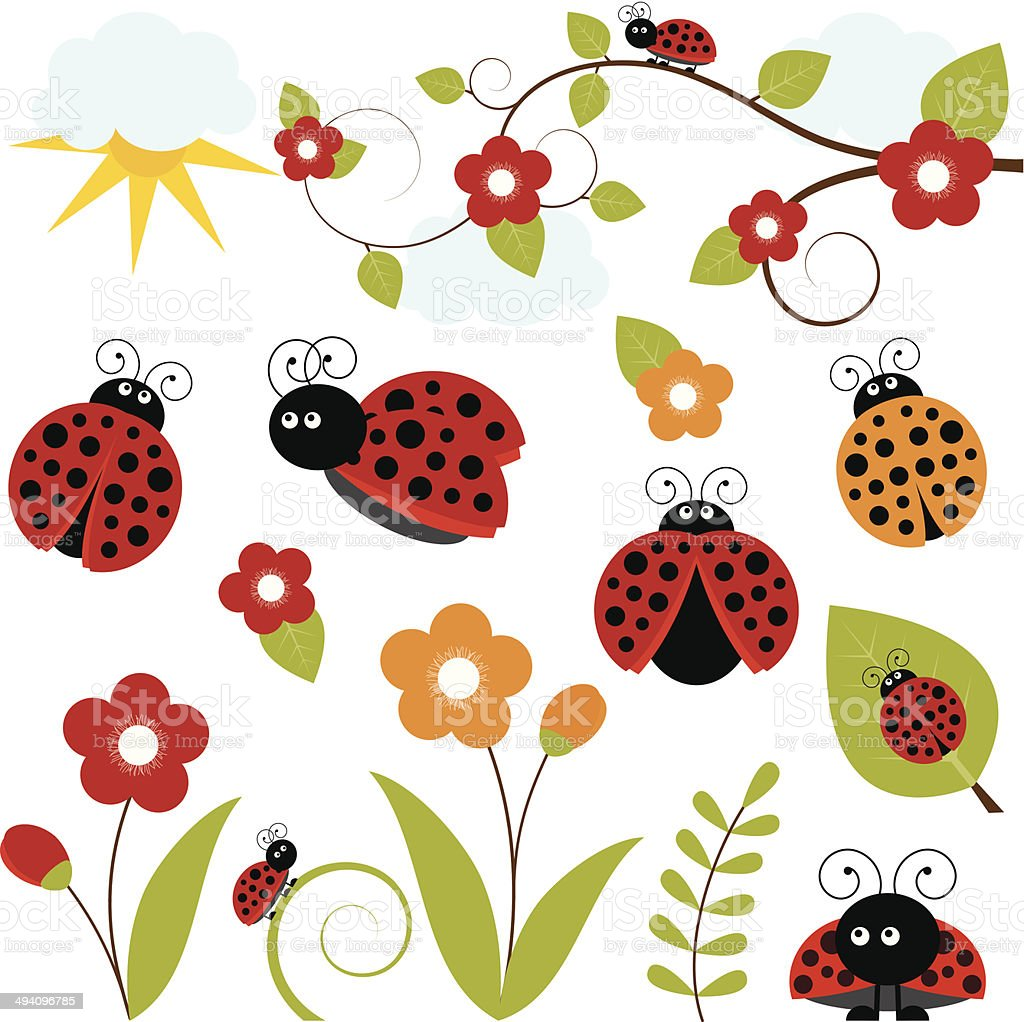 Ladybug Set vector art illustration