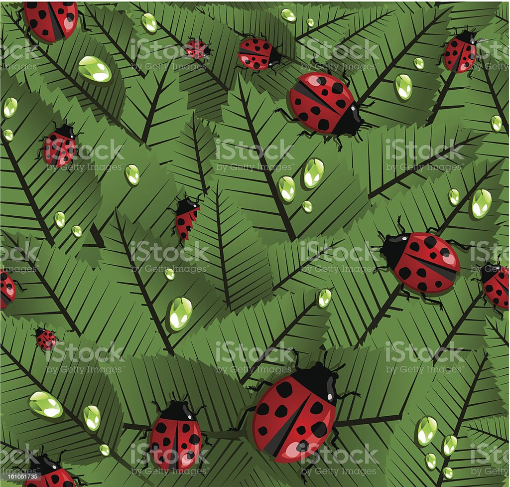 Ladybug spring pattern royalty-free stock vector art