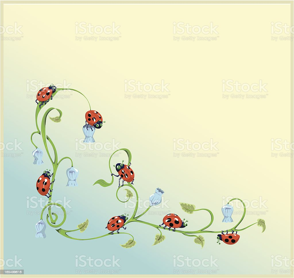 Ladybugs and Harebell Border. vector art illustration